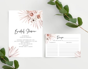 Boho Bridal Shower Invitation Template with Recipe Card Template 150