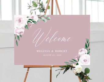 Welcome Sign Template for Wedding, Dusty Rose Pink Watercolor Boho Floral, 100% Editable with Templett Instant Download, 139V5