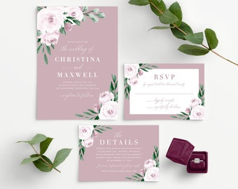 Dusty Rose Wedding Invitation Template, Watercolor Floral Wedding Invite, 139V5
