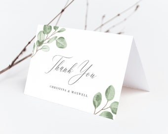 Folded Wedding Thank You Card Template Greenery Eucalyptus Wedding, 139V6