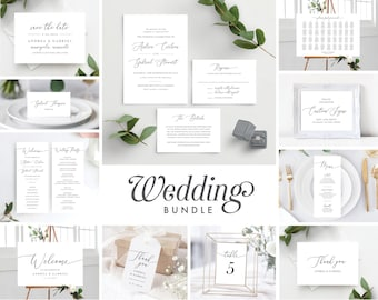Calligraphy Wedding Invitation Template Bundle Includes Save the Date, Wedding Invitation, Program, Welcome Sign, Seating Chart, 137V18