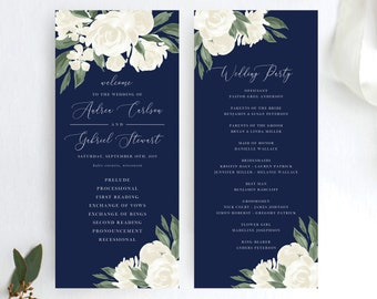 Wedding Program Template with Navy and White Floral Design, Wedding Programs Fully Editable Colors and Wording with Templett, 137V17