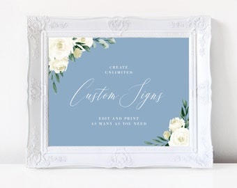 Wedding Sign Template, Dusty Blue Greenery Floral, Wedding Reception Sign, Printable, Instant Download, Editable, Templett, 139V4