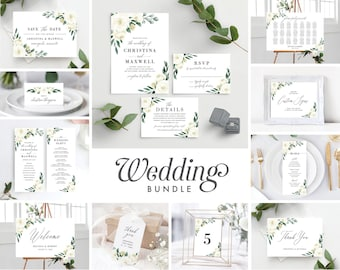 Wedding Invitation Template Bundle, White Greenery, Save the Date, Wedding Invitation, Wedding Program, Welcome Sign, Seating Chart,  139V1