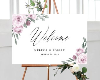 Wedding Welcome Sign Template, Purple Lavender Floral Design, Fully Editable Colors and Wording with Templett, 139V2