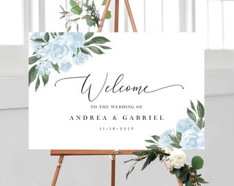 Wedding Welcome Sign Template with Greenery and Dusty Blue Floral Design, Fully Editable Colors and Wording with Templett, 137V15
