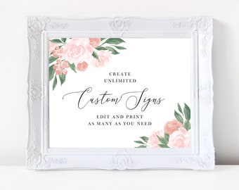 Pink and Coral Floral Wedding Sign Template