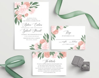 Pink and Coral Floral Wedding Invitation Template