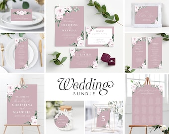 11 Piece Instant Download, Wedding Invitation Template Bundle, Dusty Pink Rose Watercolor Floral, Wedding Bundle