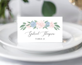 Dusty Blue and Pink Floral Wedding Place Cards Template