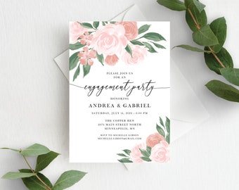 Pink and Coral Floral Engagement Party Invitation Template