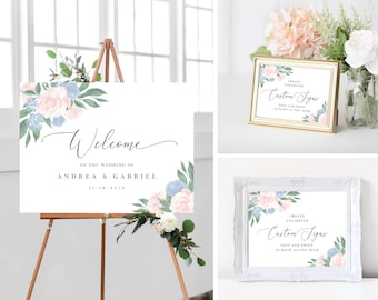 Dusty Blue and Pink Floral Wedding Sign Template Bundle