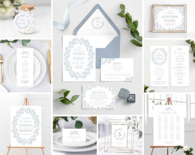 Featured listing image: Wedding Invitation Template with Envelope Liners, Dusty Blue Bundle Includes Program, Welcome Sign, Seating Chart, Olivia in Dusty Blue