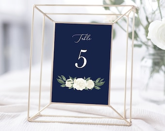 Table Numbers Template with Navy and White Floral Design, Fully Editable Colors and Wording with Templett, 137V17