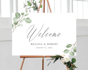 Welcome Sign Template for Wedding, Eucalyptus Greenery Minimalist, 100% Editable with Templett Instant Download, 139V6