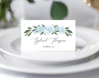 Wedding Place Cards Template with Greenery and Dusty Blue Floral Design, Fully Editable Colors and Wording with Templett, 137V15