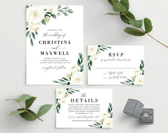 Greenery Wedding Invitation Template, Wedding Invitation Set, Printable Wedding Invitation, White Floral, Instant Download, Templett, 139V1