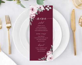 Printable Wedding Menu Card Template Download, Marsala Burgundy Watercolor Floral Menus, 139V3