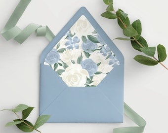 Dusty Blue Floral Envelope Liner Template