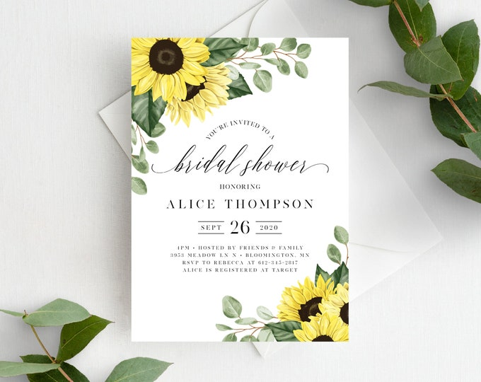 Featured listing image: Sunflower Bridal Shower Invitation Template, Rustic Sunflowers, Instant Download, 144