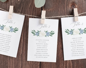 Dusty Blue and White Floral Wedding Seating Chart Cards Template