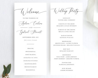 Wedding Program Template, Minimal White and Black Calligraphy, Wedding Programs Fully Editable Colors and Wording with Templett, 137V18