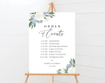 Dusty Blue and White Floral Wedding Order of Events Sign
