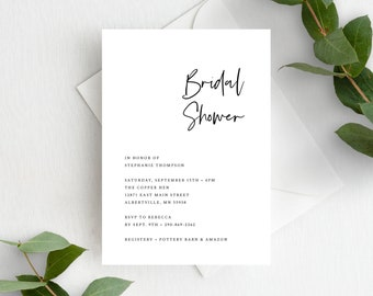 Bridal Shower Invitation Simple Minimalist 148