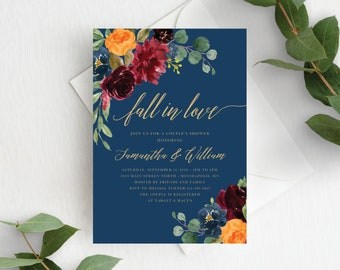 Couples Shower Invitation Template Fall in Love Couple's Shower Autumn Floral Fall In Love Wedding Shower, Orange Burgundy Navy, 140V3