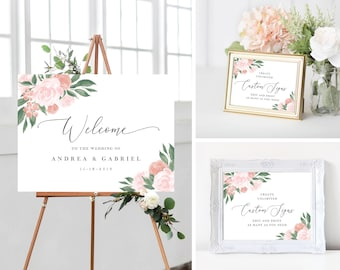 Pink and Coral Floral Wedding Welcome Sign Template Bundle