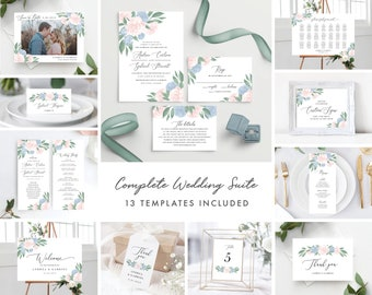 Dusty Blue and Pink Floral Complete Wedding Template Bundle