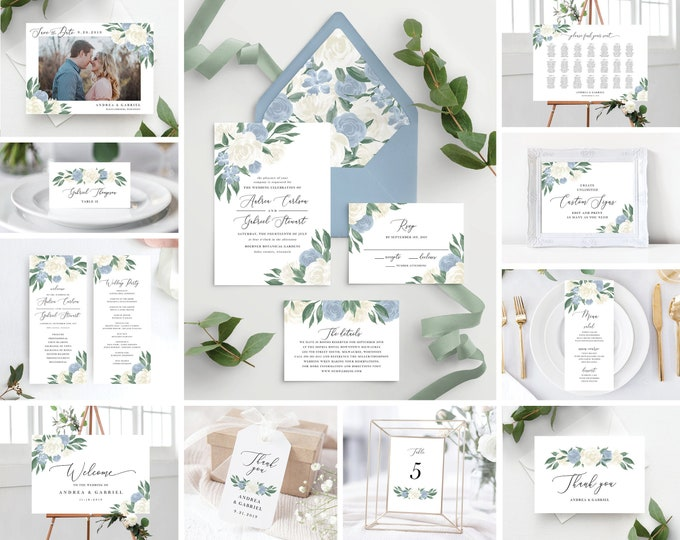 Featured listing image: Dusty Blue and White Floral Wedding Invitation Suite with Envelope Liners