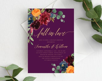 Couples Shower Invitation Template Fall in Love Couple's Shower Autumn Floral Fall In Love Wedding Shower, Orange Burgundy Purple, 140V4