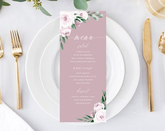 Printable Wedding Menu Card Template Download, Dusty Rose Pink Watercolor Floral Menus, 139V5