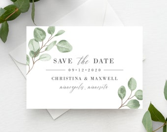 Save the Date Template Greenery Eucalyptus Leaf Printable Minimal Instant Download, 139V6