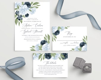 Dusty Blue and Navy Floral Wedding Invitation Template
