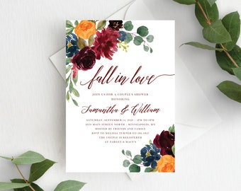 Couples Shower Invitation Template Fall in Love Couple's Shower Autumn Floral Fall In Love Wedding Shower, Orange Burgundy Marsala, 140V1