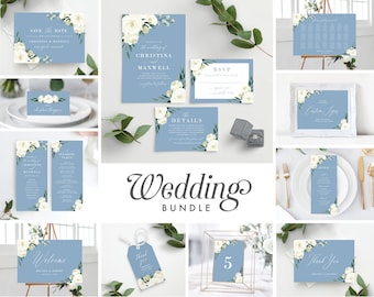 Wedding Invitation Template Bundle, Dusty Blue White Greenery Floral, Save the Date, Wedding Program, Welcome Sign, Seating Chart, 139V4