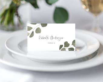 Greenery Eucalyptus Place Cards Wedding Template, Instant Download, 151