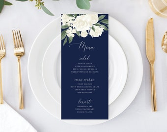Wedding Menu Template with Navy and White Floral Design, Fully Editable Colors and Wording with Templett, 137V17