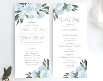Wedding Program Template with Dusty Blue with Watercolor Floral Design, Printable, Editable Colors and Wording with Templett, 137V15