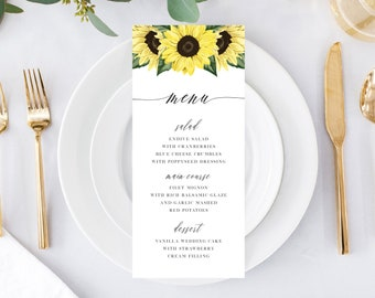 Printable Wedding Menu Card Template, Sunflower Wedding, Bridal Shower, Baby Shower, Rustic Fall Wedding, 144