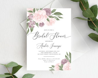 Bridal Shower Invitation Template, Editable Invite Template, Instant Download, Blush Pink Mauve Floral, 137V4