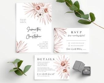 Wedding Invitation Template Download, Dusty Pink Palm Leaf Desert Theme, Bohemian Boho, Floral, 150