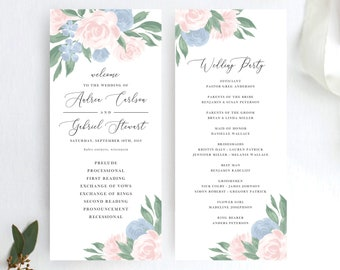 Dusty Blue and Pink Floral Wedding Program Template
