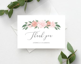 Pink and Coral Floral Thank You Card Template