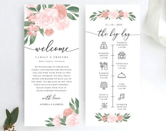 Pink and Coral Floral Wedding Itinerary Template