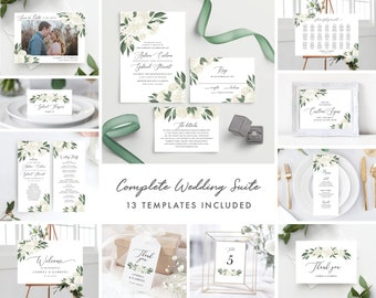 White Floral Greenery Wedding Invitation Template Bundle