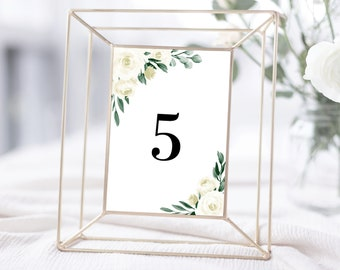 Table Numbers Template with Greenery and White Floral Design, Fully Editable Colors and Wording with Templett, 139V1