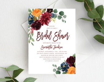 Fall Bridal Shower Invitation Template Fall Bridal Invite Autumn Floral Fall Wedding Shower, Orange Burgundy Marsala, 140V1
